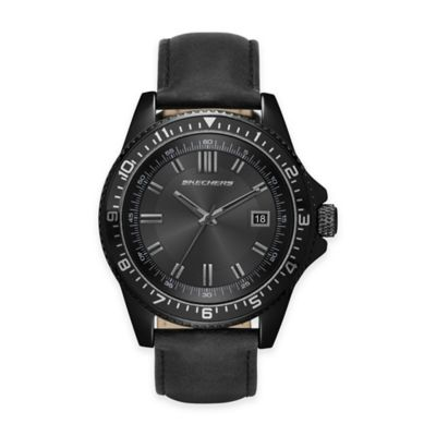 Skechers® Men's 46mm Black Dial Watch with Black Leather Strap