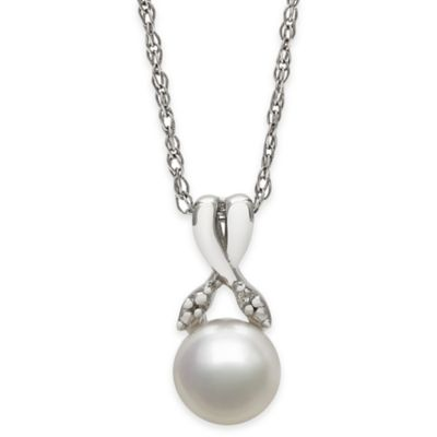 Sterling Silver .01 cttw Diamond and Freshwater Cultured Pearl Crossed Ribbon Drop Pendant Necklace