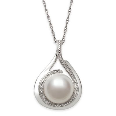Sterling Silver Freshwater Cultured Pearl 18-Inch Chain Tear Drop Pendant Necklace