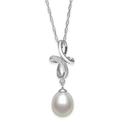 Sterling Silver .01 Cttw Diamond and Freshwater Cultured Pearl Looped Cross Pendant Necklace