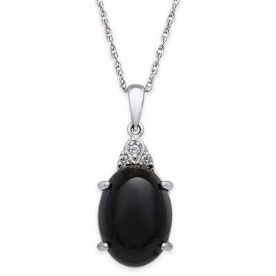 Sterling Silver .45 cttw Diamond and Onyx 18-Inch Chain Oval Drop Pendant Necklace