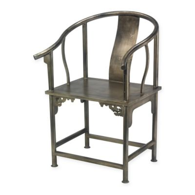 Jamie Young Ming Round Back Chair in Antique Silver