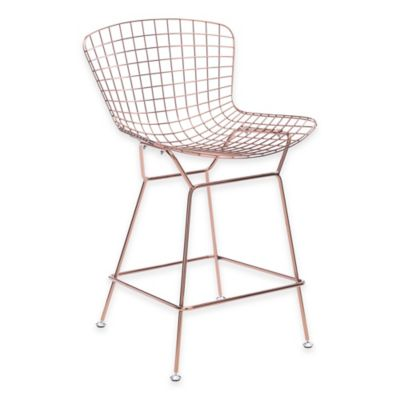 Zuo® Wire Counter Chair in Rose Gold (Set of 2)