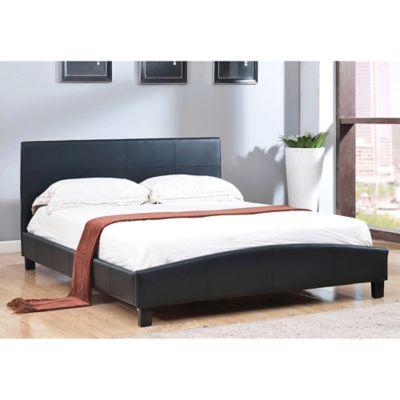 Abbyson Living Caroline Upholstered Full Platform Bed in Black