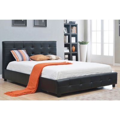 Abbyson Living Montego Tufted Bonded Leather Queen Platform Bed in Black