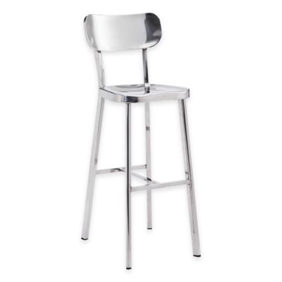 Zuo® Winter Bar Chair in Stainless Steel (Set of 2)