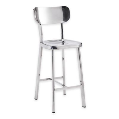 Zuo® Winter Counter Chairs in Stainless Steel (Set of 2)