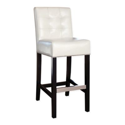 Abbyson Living Masimo Bonded Leather Barstool in Ivory