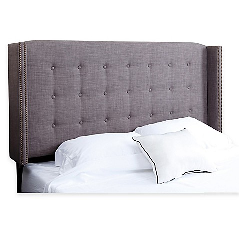 buy abbyson living callista full queen tufted winged headboard in grey linen from bed bath beyond. Black Bedroom Furniture Sets. Home Design Ideas