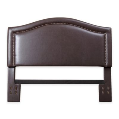 Abbyson Living Sophia Nail Head Trim King/California King Headboard in Brown Bonded Leather