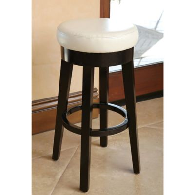 Abbyson Living Camilia Bonded Leather Counter Stool in Ivory