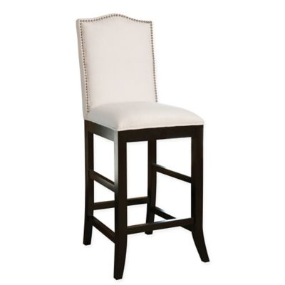 Abbyson Living Stacy Bonded Leather Nail Head Trim Barstool in Grey