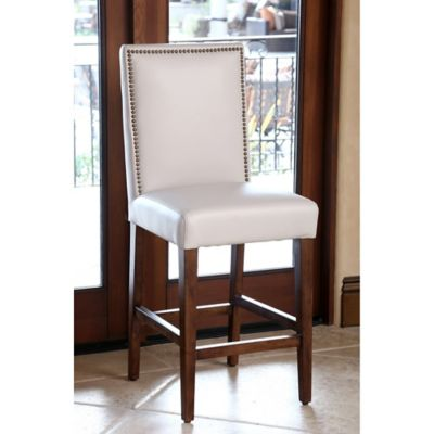 Grey Leather Barstool