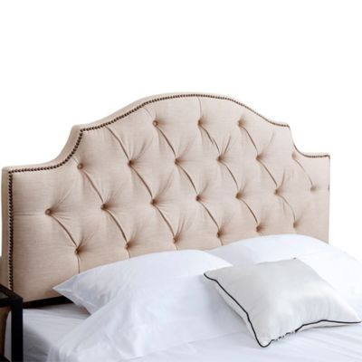 Abbyson Living Mia Tufted Linen Full/Queen Headboard in Wheat
