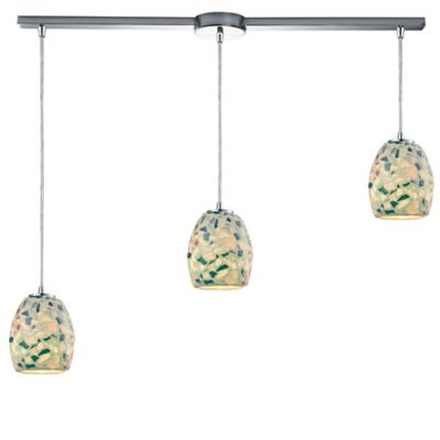 ELK Lighting Shells 3-Light Linear Pendant in Satin Nickel with Mosaic Glass Shade