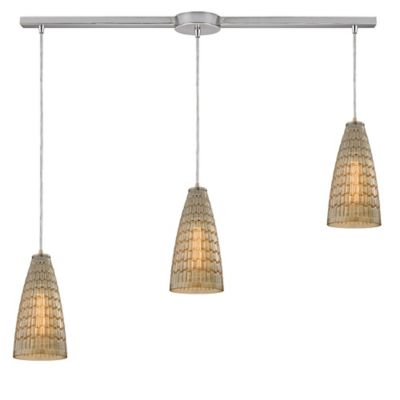 ELK Lighting Orbital 3-Light Linear Pendant in Polished Chrome with Mosaic Glass Shade