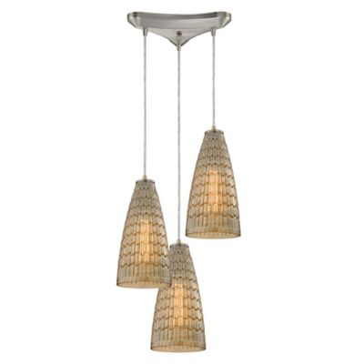 ELK Lighting Orbital 3-Light Pendant in Polished Chrome with Mosaic Glass Shade