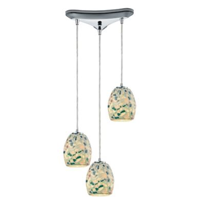 ELK Lighting Shells 3-Light Pendant in Satin Nickel with Mosaic Glass Shade