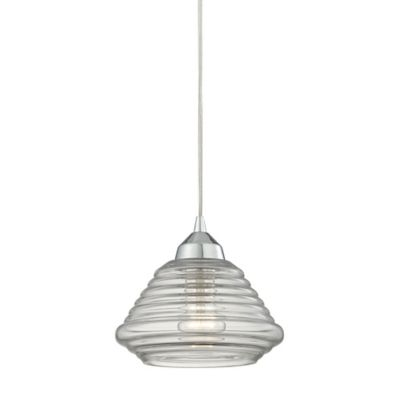 Elk Lighting Orbital 7-Inch 1-Light Pendant in Polished Chrome with Ribbed Glass Shade
