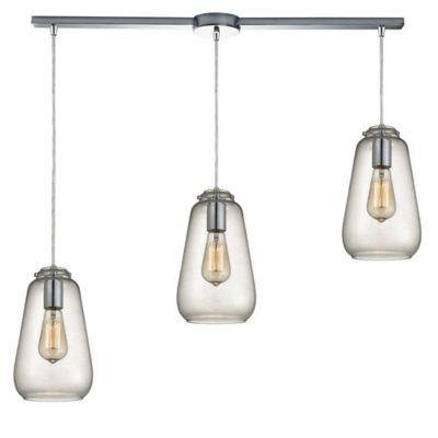Elk Lighting Orbital 10-Inch 3-Light Large Pendant in Polished Chrome with Glass Shade