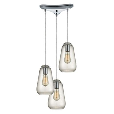 Elk Lighting Orbital 10-Inch 3-Light Pendant in Polished Chrome with Glass Shade