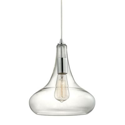 Elk Lighting Orbital 12-Inch 1-Light Pendant in Polished Chrome with Glass Shade