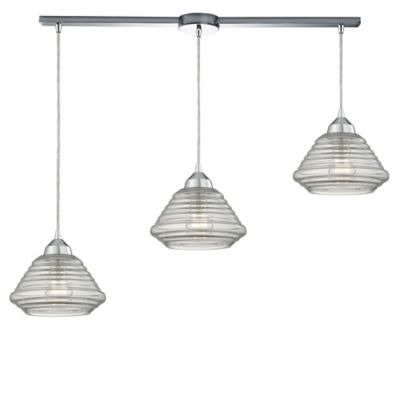Elk Lighting Orbital 7-Inch 3-Light Large Pendant in Polished Chrome with Ribbed Glass Shade