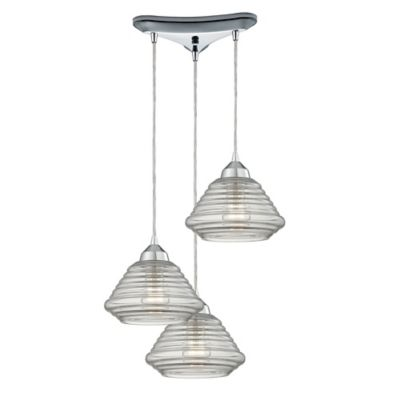 Elk Lighting Orbital 7-Inch 3-Light Pendant in Polished Chrome with Ribbed Glass Shade