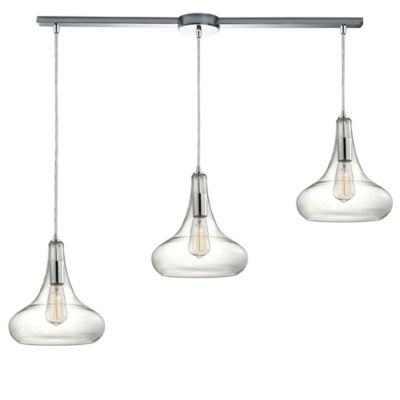 Elk Lighting Orbital 12-Inch 3-Light Large Pendant in Polished Chrome with Glass Shade