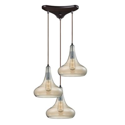 Elk Lighting Orbital 12-Inch 3-Light Pendant in Oil Rubbed Bronze with Glass Shade