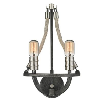 Elk Lighting Natural Rope 2-Light Wall Sconce in Silvered Graphite