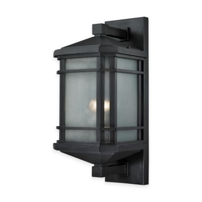 Elk Lighting Lowell 20-Inch 1-Light Wall-Mount Outdoor Sconce in Matte Black with Ribbed Glass Shade
