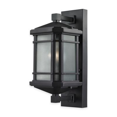 Elk Lighting Lowell 17-Inch 1-Light Wall-Mount Outdoor Sconce in Matte Black with Ribbed Glass Shade
