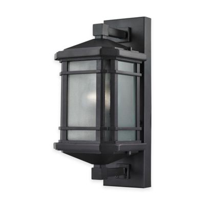 Elk Lighting Lowell 13-Inch 1-Light Wall-Mount Outdoor Sconce in Matte Black with Ribbed Glass Shade