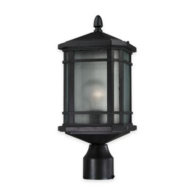 Elk Lighting Lowell 1-Light Post-Mount Outdoor Lantern in Matte Black with Ribbed Glass Shade