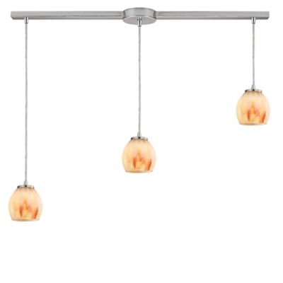 Elk Lighting Melony 3-Light Large Pendant in Satin Nickel with Frosted Glass Shade