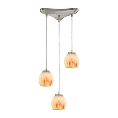Elk Lighting Melony 3-Light Pendant in Satin Nickel with Frosted Glass Shade
