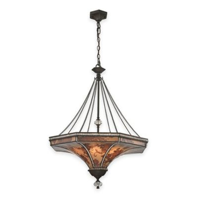 Elk Lighting Mica 8-Light Pendant in Weathered Bronze with Glass Shade