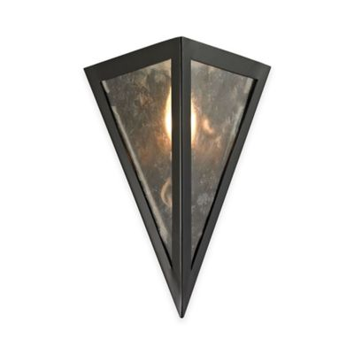 Elk Lighting Mica 1-Light Wall Sconce in Oil-Rubbed Bronze with Grey Glass Shade