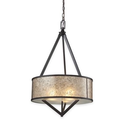 Elk Lighting Mica 3-Light Pendant in Oil-Rubbed Bronze with Glass Shade
