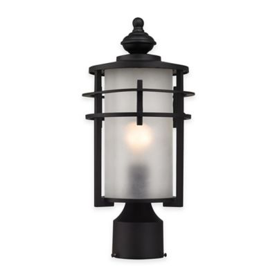 Elk Lighting Meadowview 1-Light Post-Mount Outdoor Lantern in Matte Black with Frosted Glass Shade