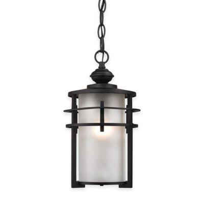 Elk Lighting Meadowview 1-Light Outdoor Pendant in Matte Black with Frosted Glass Shade