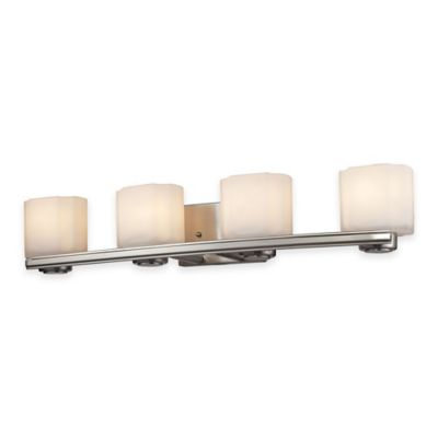 ELK Lighting New Haven 4-Light Wall-Mount Vanity Fixture in Brushed Nickel with Frosted Glass Shade