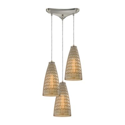 Elk Lighting Mickley 3-Light Pendant in Satin Nickel with Glass Shade