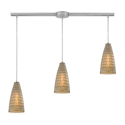 Elk Lighting Mickley 3-Light Large Pendant in Satin Nickel with Glass Shade