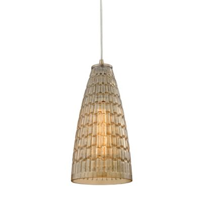 Elk Lighting Mickley 1-Light Pendant in Satin Nickel with Glass Shade