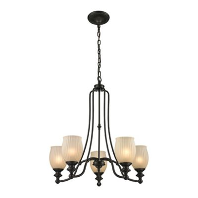 Elk Lighting Park Ridge 5-Light Chandelier in Oil Rubbed Bronze with Amber Glass Shade