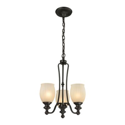 Elk Lighting Park Ridge 3-Light Chandelier in Oil Rubbed Bronze with Amber Glass Shade