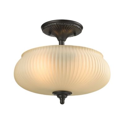Elk Lighting Park Ridge 2-Light Semi-Flush Mount in Oil Rubbed Bronze with Amber Glass Shade