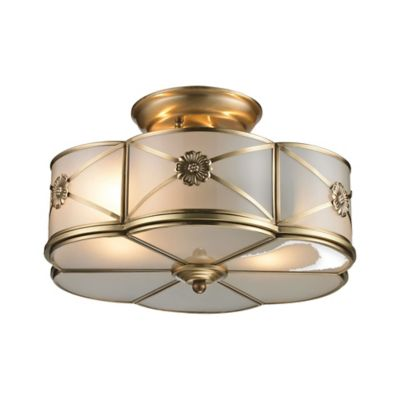 Elk Lighting Preston 2-Light Semi-Flush Mount in Brushed Brass